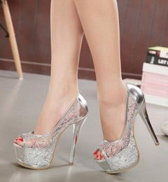 Wholesale Bridal Lace Shoes Ladies - Platform Gold 2017 Rhinestone Wedding Ladies Shoes With Heels Extreme High Glass Slipper Lace Bridal Cutout Transparent Heel Sexy