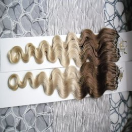Wholesale Micro Wave Hair Extensions - Ombre hair extension micro ring body wave 200g 1g s 200s T4 613 micro ring hair extensions micro loop hair extensions
