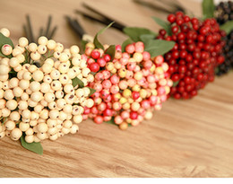 Wholesale Decoration Plastic Fruit - Wholesale 20sets artificial plastic berry fruits plants bouquets fake flower fruits plants for wedding home bedding set table decoration