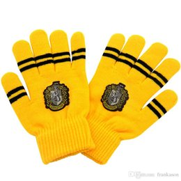 Wholesale Magic Wool - Winter Warm Harry Potter Glove Unisex Thickened Double Layer Knitted Wool Gryffindor Slytherin Hufflepuff Ravenclaw Gloves Gift Magic Toys