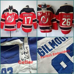 Wholesale Nj Hockey Jersey - S-XXXL #17 Ilya Kovalch #26 Patrik Elias NJ New Jersey Devils Mens Ice Hockey hoodie jersey Old Time hoodies Stitched NHL Jerseys Sweatshirt