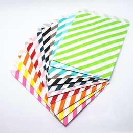 Wholesale Sandwich Bags Wholesale - 2017 New Style 17x13cm 100Pcs Baking Food Diagonal Stripe Paper Pack Pouch Bread Sandwich Snack Candy Gift Paper Party Packaging Bag