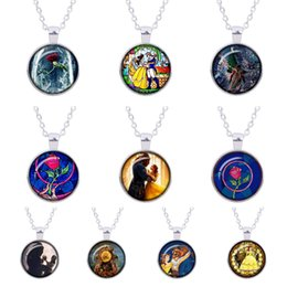 Wholesale Wholesale Beauty Beast - Beauty and the Beast necklace, Flowers Rose jewelry Glass Photo Cabochon sweater pendant charms silver Jewellery Best Gifts