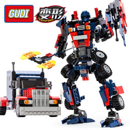 Wholesale Transformation Truck Toy - 2017 New 2-in-1 Transformation Series Prime Building Blocks Set Robot Car Truck Bumblebee Model Deformation Toys Gudi 8713