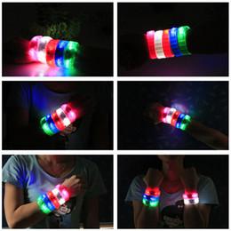 Wholesale Luminous Wristbands - Silicone LED Flowing Wristband Voice Control Flashing Arm Band Vibration Control Bracelet LED Luminous Hand Ring Party Disco Christmas