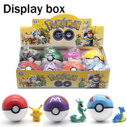 Wholesale Action Figures Display - Poke go Plastic 7cm pokeballs+Action Figures Display box Pikachu Greate Ball Ultra ball Master ball High imitation 8Style Kids Toy wholesale