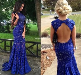 Wholesale Pageant Dres - Royal Blue Lace Prom Dresses Sparkly Crystals Open Back Sleeveless Mermaid See Through 2016 New Women Pageant Evening Gowns Long Party Dres