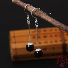 Wholesale Obsidian Earrings - 2017 New Women Natural stone Dangle Earring 100% Real 925 sterling silver DIY Obsidian Long Drop Earring Gift Women jewelry YE29