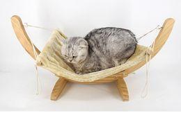 Wholesale Cradle Blankets - Pet Wood Breathable Lounger Cat Hammock Bed Removable Soft Dog Basket Suspension Hamster Rabbit Cradle