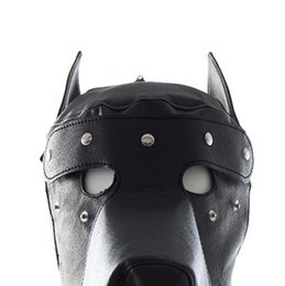 Wholesale Halloween Leather Costume - Masquerade Mask Leather Gimp Dog Puppy Hood Full Mask Mouth Gag Costume Party Mask Zipped Muzzel Halloween Masks