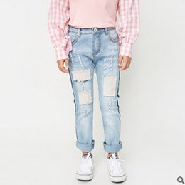 Wholesale Girls Jeans Leggings - Big Girls jeans 2017 spring new kids thin tight children hole leisure pants girls all-match pants kids bottoms 7-14T children clothing T0741