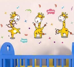 Paquete de gráficos online-Lindo pegatinas de pared Giraffine gráfico de vinilo de una sola pieza paquete Animal PVC Kids Living pegatinas de pared para la decoración del hogar