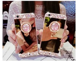 Wholesale Iphone Cover Mirror Bling - Luxury Handmade Bling Diamond Crystal Holder Case With Stand Kickstand Mirror Cover For iPhone X 8 7 Plus 6 6S Samsung S8 S7 Edge Note 8