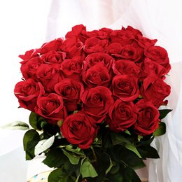 Wholesale Wholesale Valentines Day Silk Roses - Wholesale-1pc Romantic Artificial Simulation Fake Silk Red Rose Flowers For Valentine Day Festival Home Party Wedding Decoration