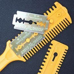Wholesale Hair Cutting Razor Blades - Wholesale- 1PCS Hot Sale Top Quality Hair Scissors Barber Scissor Hair Cut Styling Razor Magic Blade Comb Hairdressing Tool Kit