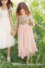 Wholesale Girls Sequin Formal Dress - 2017 Blush Flower Girls Dresses Gold Sequins Hand Made Flower Sash Tea Length Tulle Jewel A Line Kids Formal Dress Junior Bridesmaid Dress