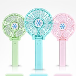 Wholesale handy battery - DHL Handy Mini Portable Outdoor Desk Electric Fans Handheld Foldable Fan With LED Lights Wireless USB with Battery Rechargeable Candy Color