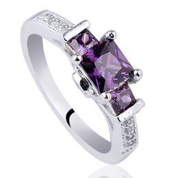 Wholesale February Jewelry - Women 925 Silver Ring Sterling 3-stone Princess Cut Simulated Purple Amethyst Cubic Zirconia Jewelry February Birthstone R136PA