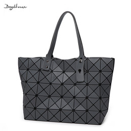Wholesale Vintage Sequin Tops - Wholesale-BaoBao issey women Matt Surface Retro Tote Shoulder Bags Miyake Famous brand Sequins Folding Handbags casual Top-handle bags