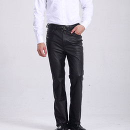 Wholesale Full Thickness - Wholesale- M-8XL Plus Size Genuine Leather Pants Men Regular Normal & Increase Thickness Straight Cool Casual Slim Style Men Pants Clothing