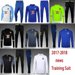 Wholesale Football Training Clothing - free shipping 17 18 Soccer jerseys Men's Jackets+Pants Sport Clothes Jogging Football Training Suit Fashion Outerwear Tracksuit