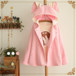 Wholesale double breasted skirt coat - Wholesale- New 2017 Women Wool Coat Winter Pink Double-breasted Trench Coats Ladies Warm Casual Hooded Wool Coats Bunny Ears Coat