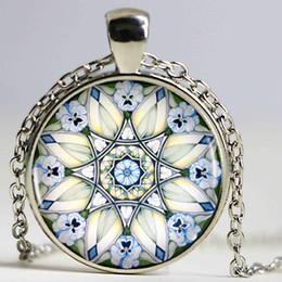 Wholesale Picture Friend - White Poppy Mandala Pendant Necklace Flower Picture Unique Heart-shaped Vintage Bronze Necklace Men Jewelry Friend