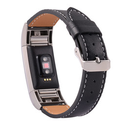 Wholesale Brown Leather Wristband Buckle - Luxury Genuine Leather Watch Band for Fitbit Charge 2 Wristband Replacement Strap for Fitbit Charge 2 Bracelet with Metal Buckle In Stock