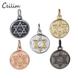 Wholesale Wire Fashion Necklaces - Star Of David Charm Religious Charms Accessories for Stainless Steel Bracelet Wire Bangle Necklace Fashion Jewelry Making Supplies Handmake