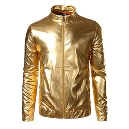 Wholesale Gold Bomber - Wholesale- Night Club Trend Metallic Gold Jacket Men Veste Homme 2016 Fashion Stand Collar Front-Zip Lightweight Jacket Baseball Bomber