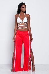 Wholesale High Waist Pants Cheap - Cheap Women Wide Leg Pants Sexy Side Split Button Trousers Summer High Waist Loose Trousers 2017 Fashion Casual Sports Long Pants