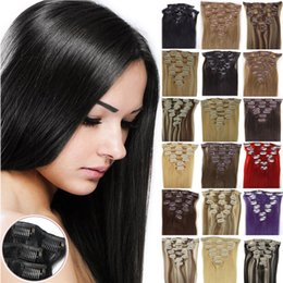 Wholesale Blonde Clips - Mink brazilian virgin clip in hair extensions different color available top gade human hair weave with clips 70g set