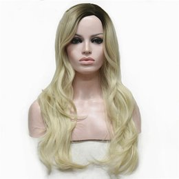 Wholesale Blonde Wig Skin - Long Wavy Dark to Blonde Ombre Side Skin Part, no Bangs,High Heat Resistant Full Synthetic Wig