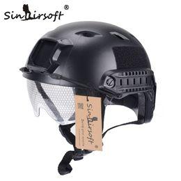 Casco del ejército del airsoft online-SINAIRSOFT FAST Casco con gafas protectoras BJ Type Airsoft Casco táctico Army Casco Paintball