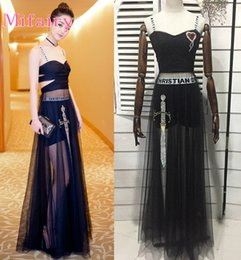 Wholesale Celebrity Dresses Free Shipping - Free Shipping Runway Dress 2017 Black Spaghetti Straps Mesh Celebrity Style Dress High End Embroidery Evening Vestidos De Festa D0617121