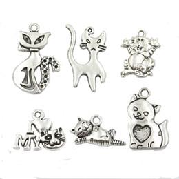 Wholesale Cat Pendant Tibetan - Wholesale- 18pcs Mixed Tibetan Silver Plated Cat Charms Pendants for Jewelry Making DIY Handmade Craft 6styles