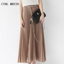 2017 estate nuova moda elegante della Boemia in chiffon pieghettato donne vita elastica pavimento-lunghezza lunga maxi gonna in tulle con cintura da