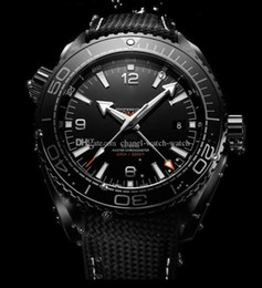 Wholesale Ocean Stainless - New Style AAA Top Quality Planet Ocean 600M GMT Deep Black Automatic Machinery Mens Watch 45MM Men's Sport Wrist Watches