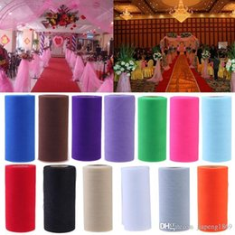 Wholesale Colorful Table Runners - 26.7X15cm Colorful Tissue Tulle Roll Spool Craft Wedding Party Decoration Organza Sheer Gauze Element Table Runner Top quality