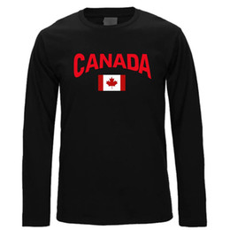 Wholesale Panel Flag - Funny Mens t-shirt Long Sleeve Canada Flag Custom Made Graphic Tee Tops Round Neck Mens T Shirts 2017 L03