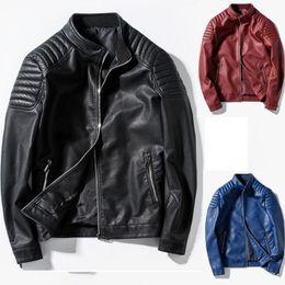 Wholesale Designer Motorcycle Jackets Men - new arrived winter autumn fashion mens Designer Brand black red blue leather jacket slim fit jackets for mens motorcycle clothes