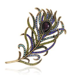 Wholesale feather brooches - Wholesale- Romantic Feather Brooch Pin Antique Gold Crystal Rhinestone Metal Vintage Jewelry Accessory