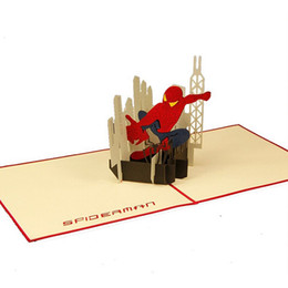 Wholesale Envelopes For Greeting Cards - (10 pieces lot)Birthday Gift 3D Greeting Cards with Envelope Pop Up Greeting Card Handmade Spider-man Gift Card for Boy