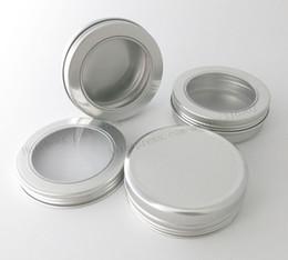 Wholesale Sugar Glass Jars - 50 x 100g Aluminum Jar Container With Window 100ml Metal Display Tin for cream, sugar, storage, display, jewelry, glitters use