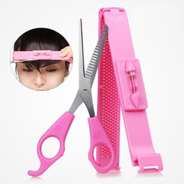 Wholesale Hair Clips Adults - Wholesale- Girl Pink Plastic Level Instrument Ruler DIY Hair Tools Bang Cut Kit Scissor+Hair Clip Set Hairstyle Typing Trim Tool Beauty