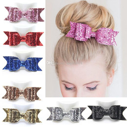 Wholesale Shiny Bow - 7color Baby Girl Shiny gold glitter Sequin Hair Bows Children Hair Accessories Baby Hairbows Girl Hair Bows 11.5*4.0cm Free shipping E1002