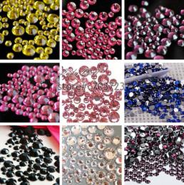 cristallo rotondo di 2mm Sconti Wholesale- 1000 pezzi 2mm - 6mm Mix Size Crystal 14 faccette Resina rotonda strass scintillanti strass Decorazione Nail Art scelta N01-N22