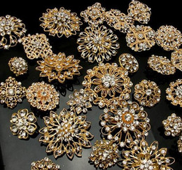 Wholesale Party Decorations Engagement - 20 SILVER   GOLD X Mixed Bulk Wedding Bridal Decoration Silver Colour Flower Crystals Brooches Brooch Bouquet Rhinestones free shipping