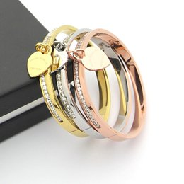 crystal single row bracelet Coupons - Jewelry wholesale letter T peach single row of diamond bracelet heart single ladies fashion bangles