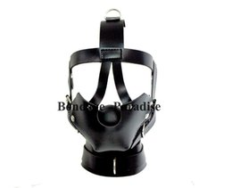 Wholesale Women Gagged Mask - Bondae headgear mouth Ball Gag BDSM Restraints Head Harness Mouth Mask Ball Gag Adult Bondage toys for Women